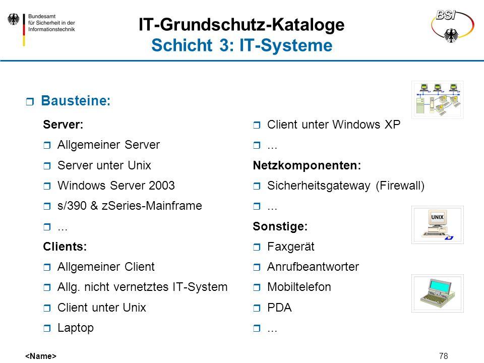 IT-Grundschutz-Kataloge Schicht 3: IT-Systeme