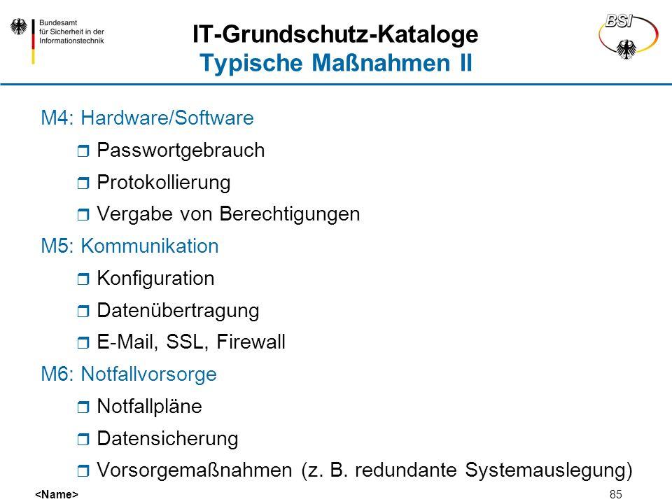 IT-Grundschutz-Kataloge Typische Maßnahmen II