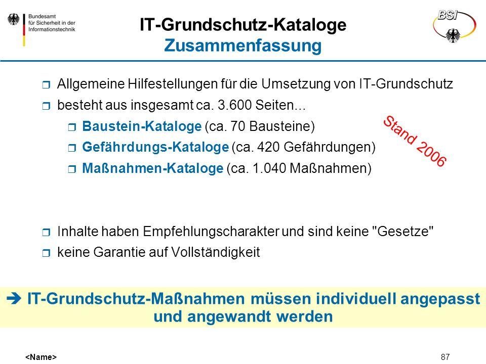 IT-Grundschutz-Kataloge Zusammenfassung