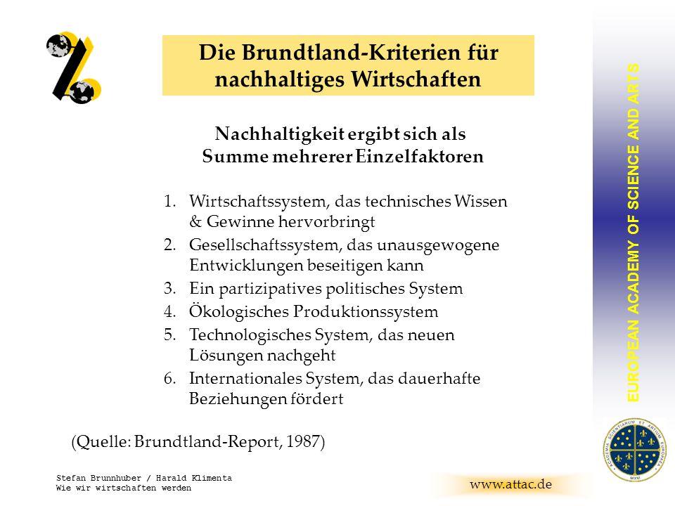 Die Brundtland-Kriterien für nachhaltiges Wirtschaften