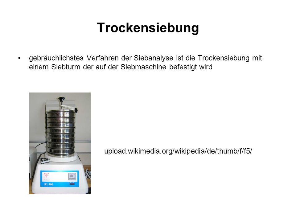 Trockensiebung gebräuchlichstes Verfahren der Siebanalyse ist die Trockensiebung mit einem Siebturm der auf der Siebmaschine befestigt wird.