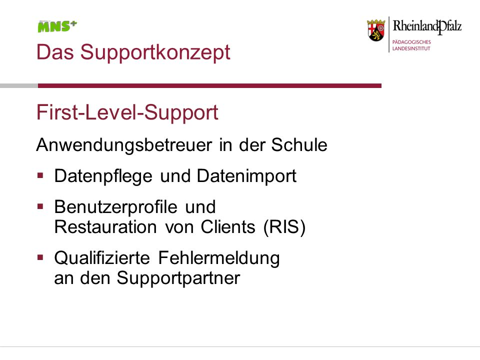 Das Supportkonzept First-Level-Support