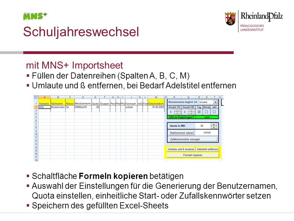 Schuljahreswechsel mit MNS+ Importsheet