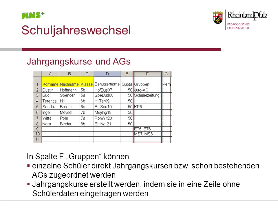"""Schuljahreswechsel Jahrgangskurse und AGs In Spalte F """"Gruppen können"""