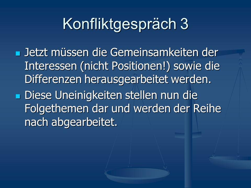 Konfliktgespräch 3 Jetzt müssen die Gemeinsamkeiten der Interessen (nicht Positionen!) sowie die Differenzen herausgearbeitet werden.