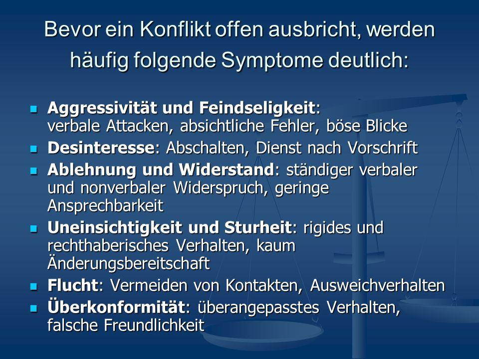 Bevor ein Konflikt offen ausbricht, werden häufig folgende Symptome deutlich: