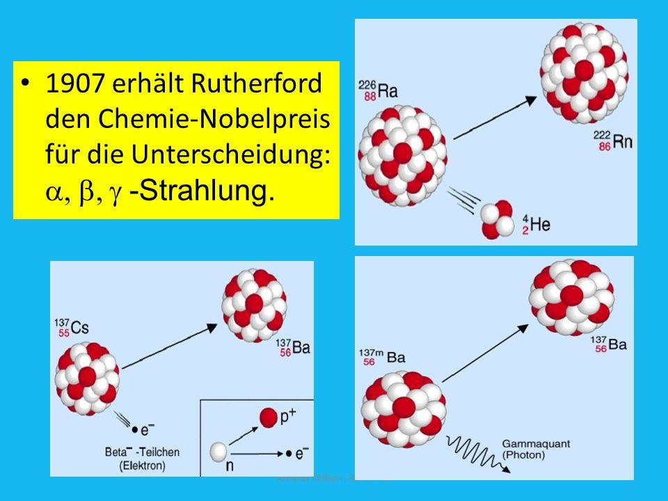 1907 erhält Rutherford den Chemie-Nobelpreis für die Unterscheidung: a, b, g -Strahlung.
