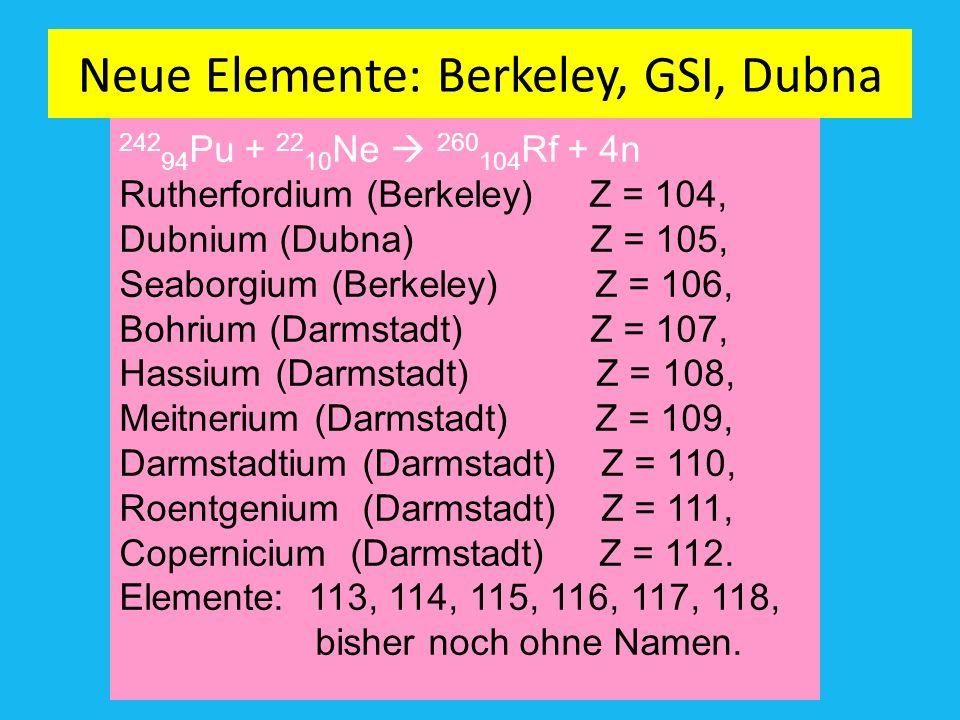 Neue Elemente: Berkeley, GSI, Dubna