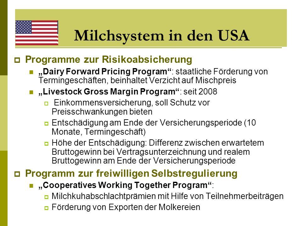 Milchsystem in den USA Programme zur Risikoabsicherung