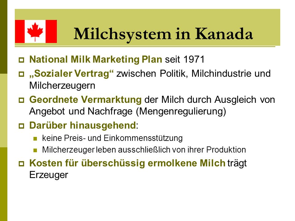 Milchsystem in Kanada National Milk Marketing Plan seit 1971