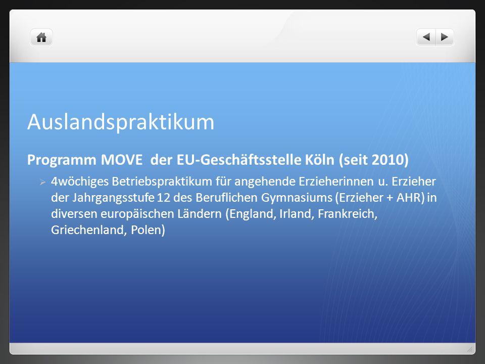 Auslandspraktikum Programm MOVE der EU-Geschäftsstelle Köln (seit 2010)