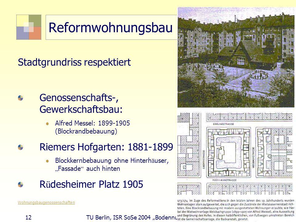 Reformwohnungsbau Stadtgrundriss respektiert