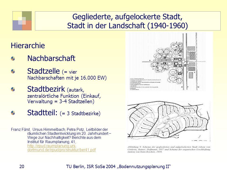 Gegliederte, aufgelockerte Stadt, Stadt in der Landschaft (1940-1960)