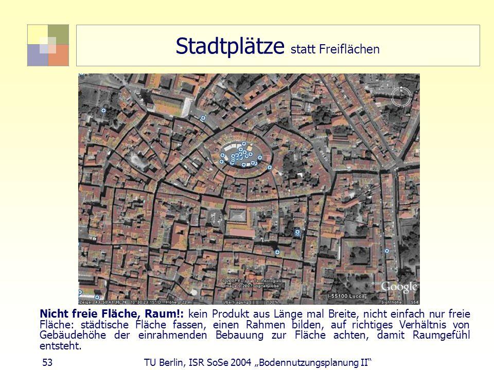 Stadtplätze statt Freiflächen
