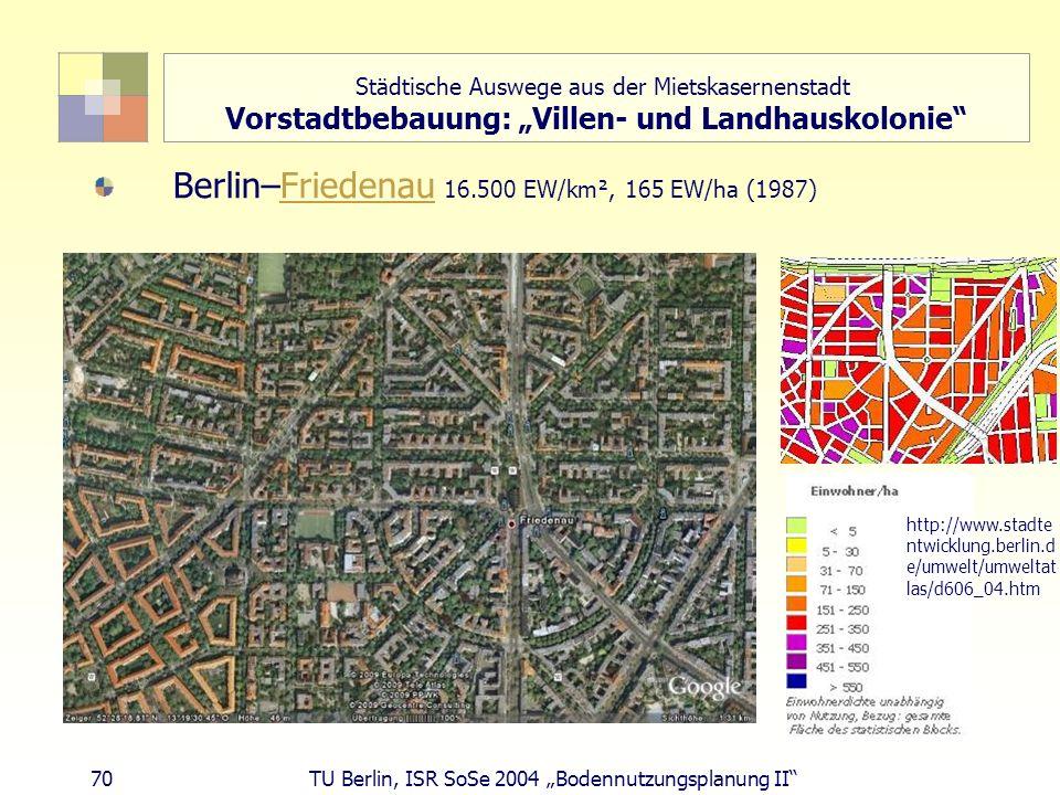 """Städtische Auswege aus der Mietskasernenstadt Vorstadtbebauung: """"Villen- und Landhauskolonie"""