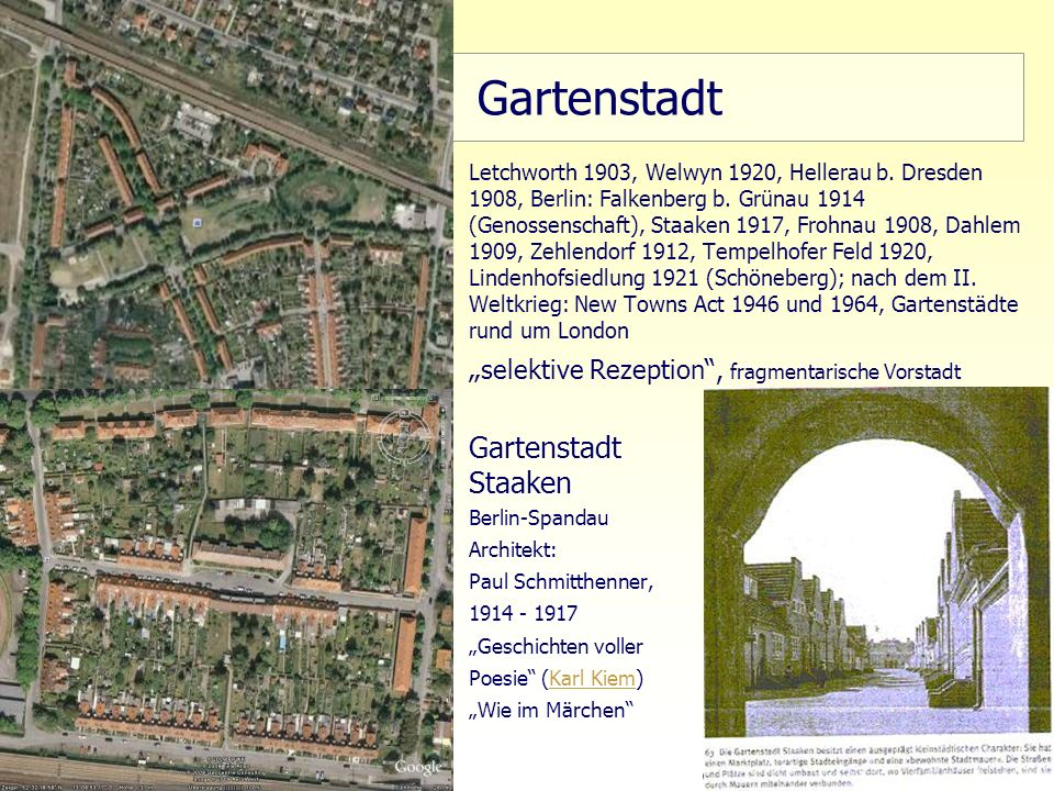 "Gartenstadt ""selektive Rezeption , fragmentarische Vorstadt"