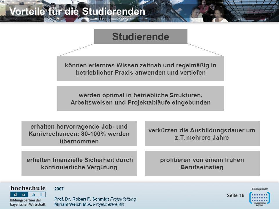 Vorteile für die Studierenden