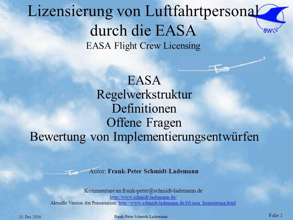 Lizensierung von Luftfahrtpersonal durch die EASA EASA Flight Crew Licensing