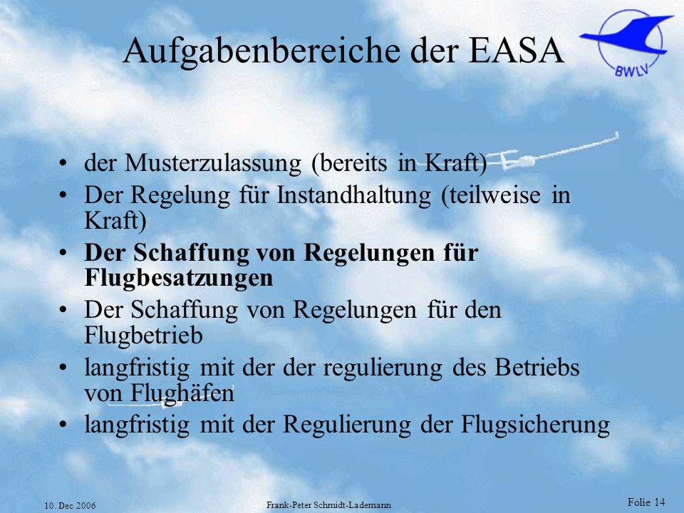 Aufgabenbereiche der EASA