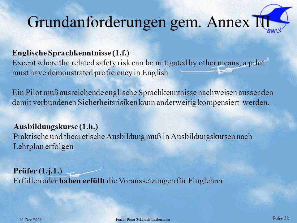 Grundanforderungen gem. Annex III