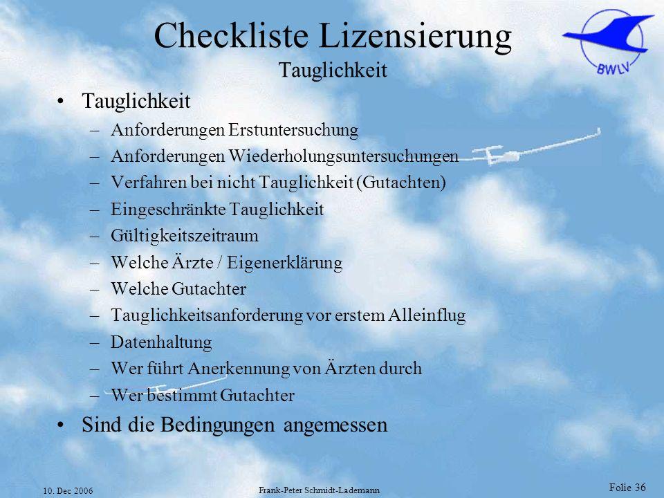 Checkliste Lizensierung Tauglichkeit