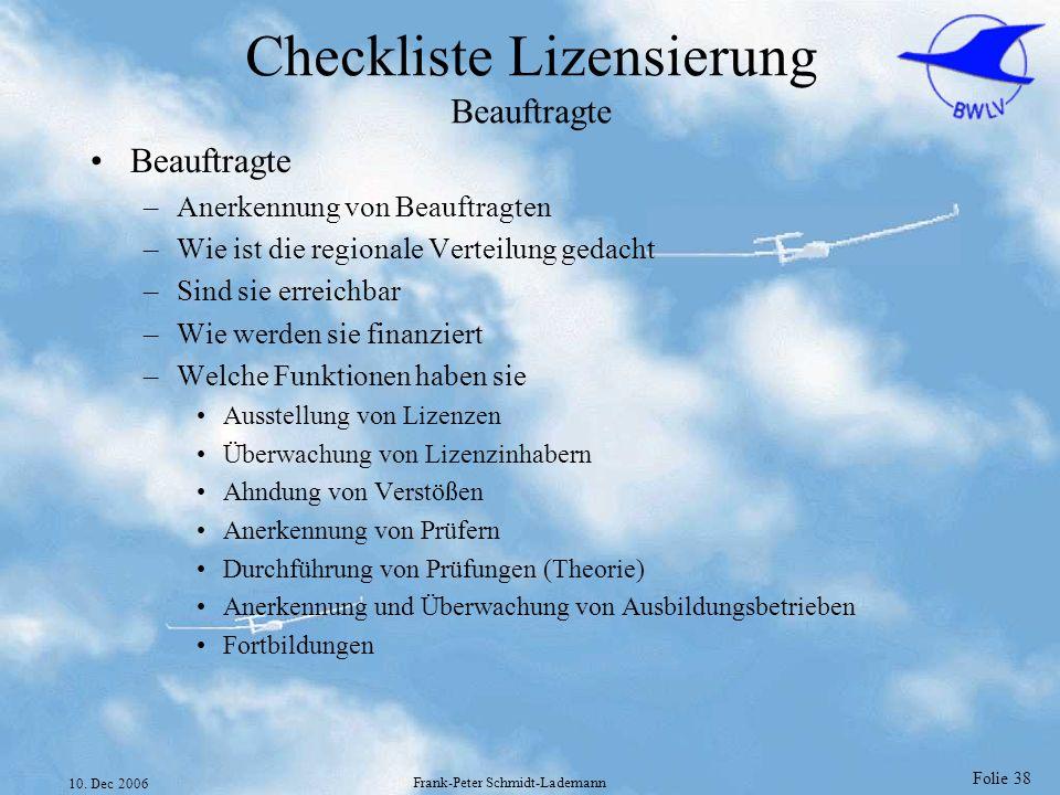 Checkliste Lizensierung Beauftragte
