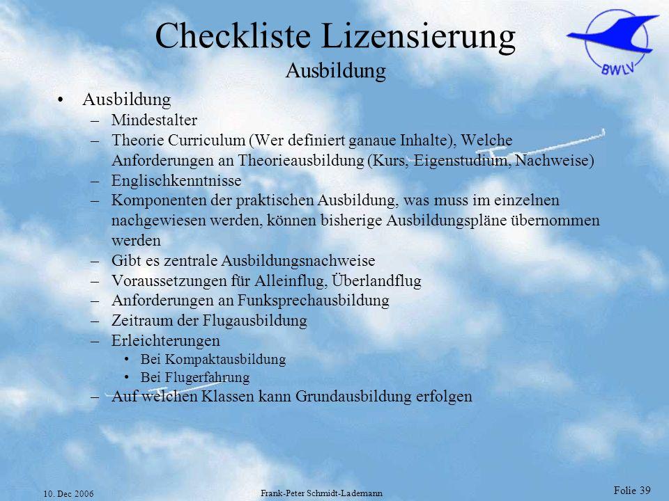 Checkliste Lizensierung Ausbildung