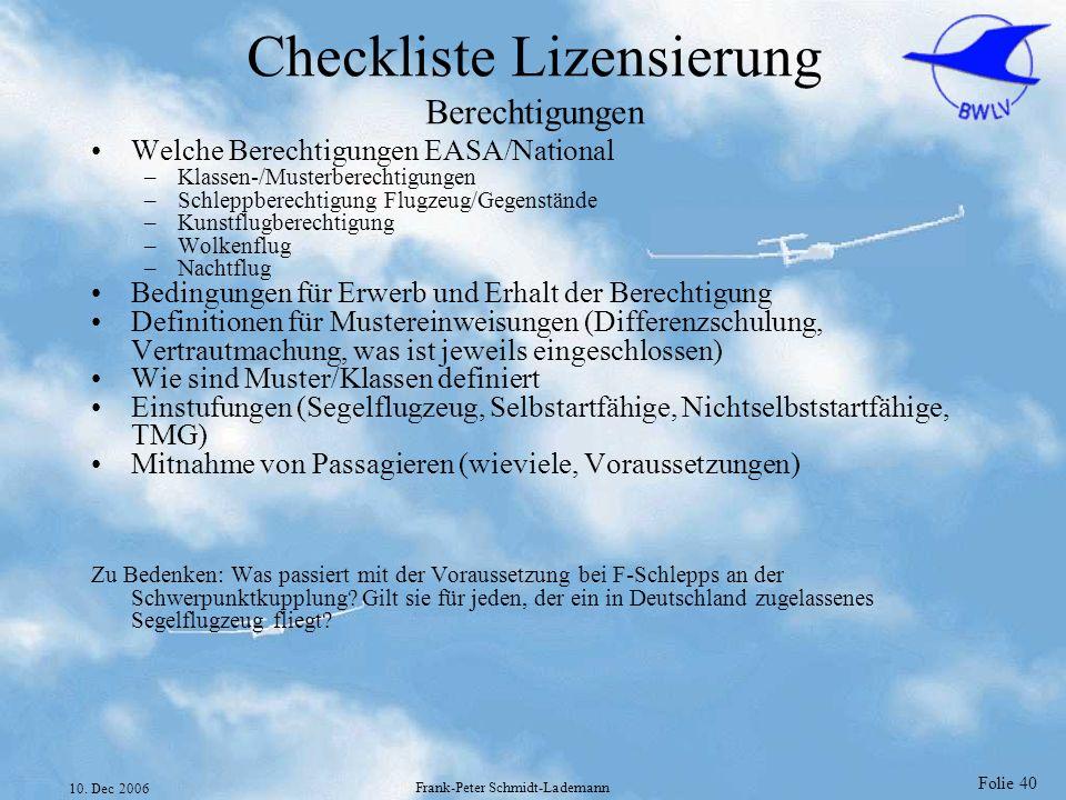 Checkliste Lizensierung Berechtigungen