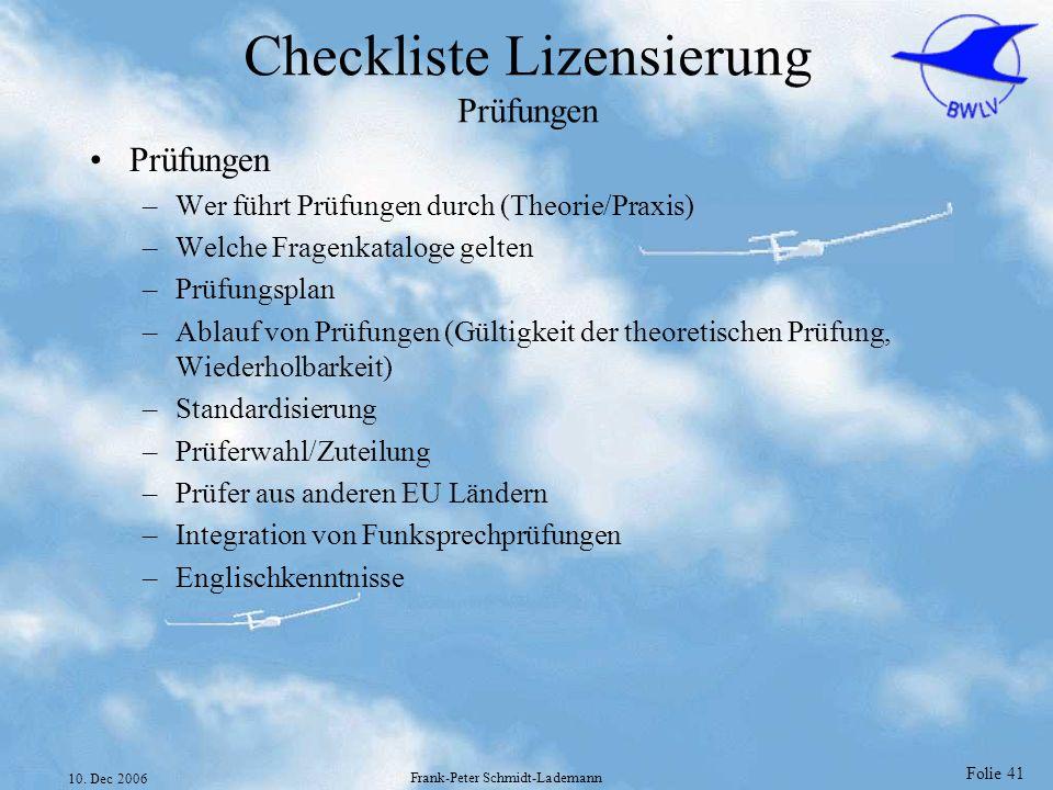Checkliste Lizensierung Prüfungen