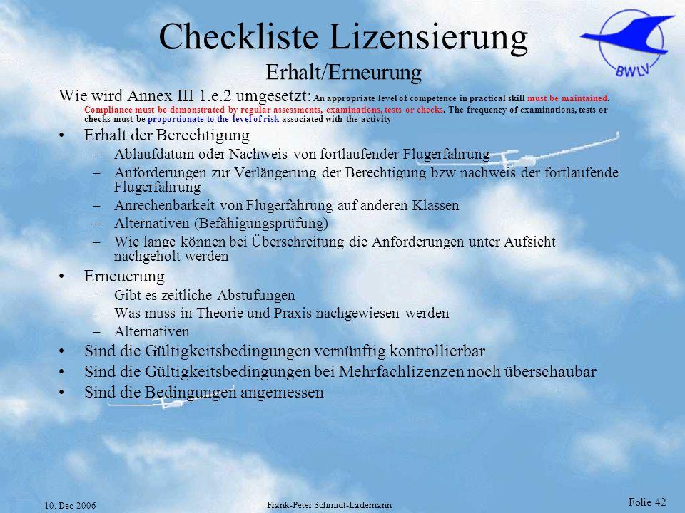 Checkliste Lizensierung Erhalt/Erneurung