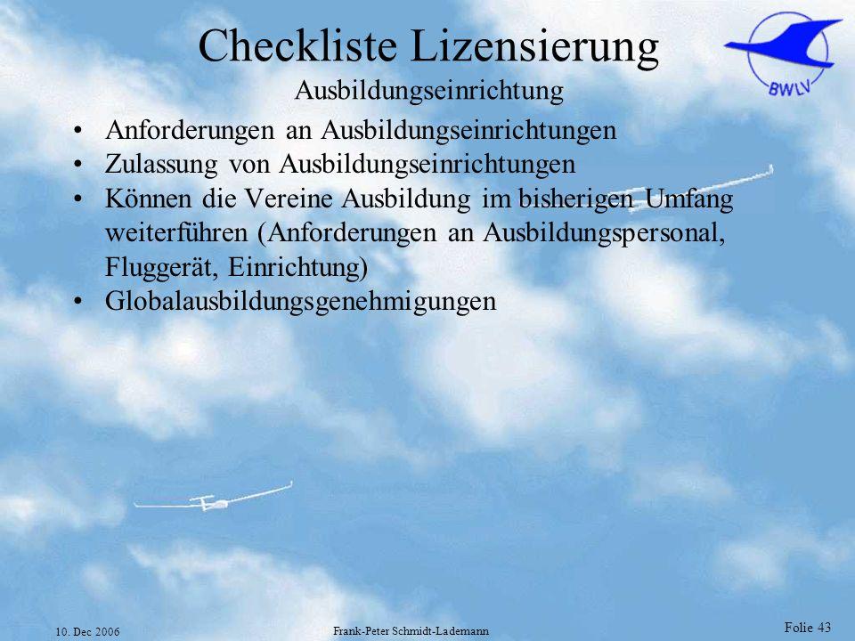 Checkliste Lizensierung Ausbildungseinrichtung