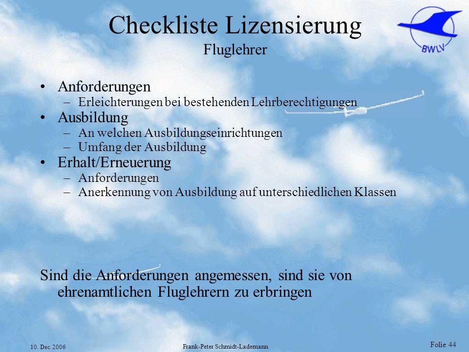 Checkliste Lizensierung Fluglehrer