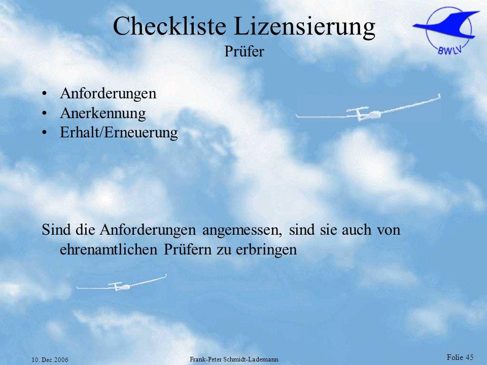 Checkliste Lizensierung Prüfer