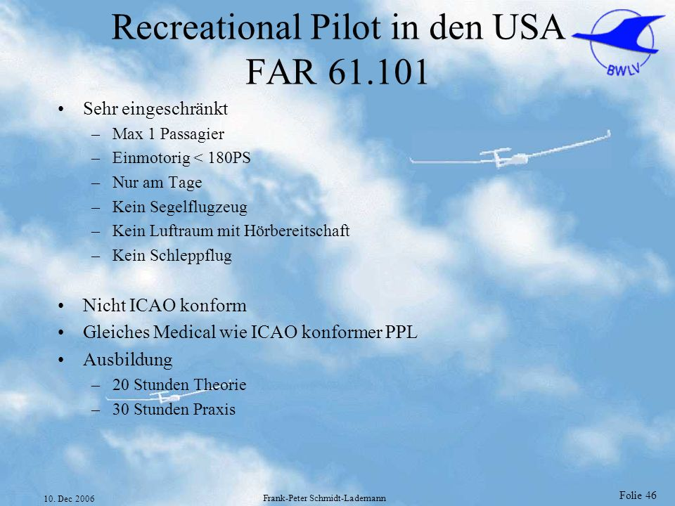 Recreational Pilot in den USA FAR 61.101
