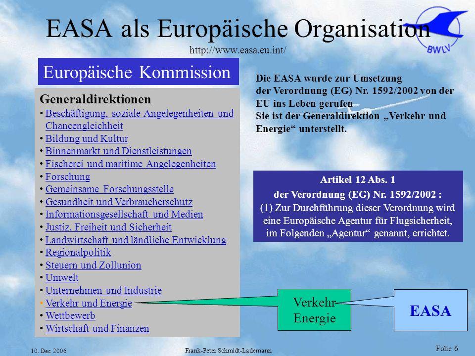 EASA als Europäische Organisation http://www.easa.eu.int/