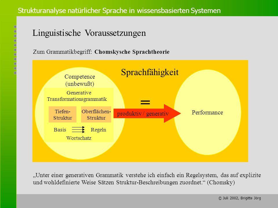 = Linguistische Voraussetzungen Sprachfähigkeit