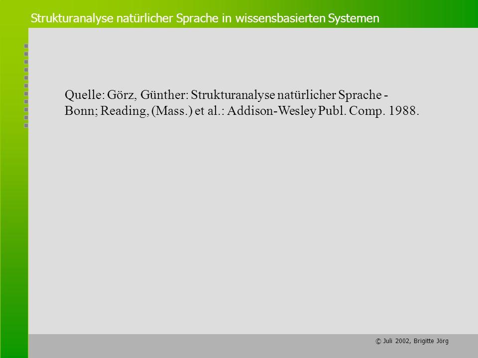 Quelle: Görz, Günther: Strukturanalyse natürlicher Sprache -