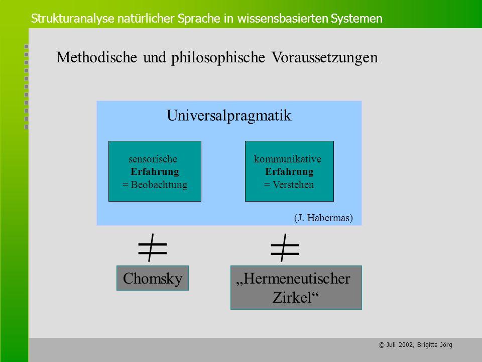 = = Methodische und philosophische Voraussetzungen Universalpragmatik