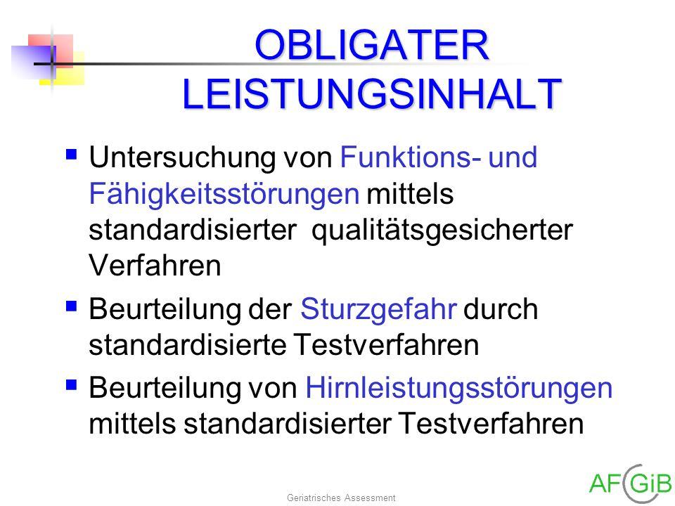 OBLIGATER LEISTUNGSINHALT