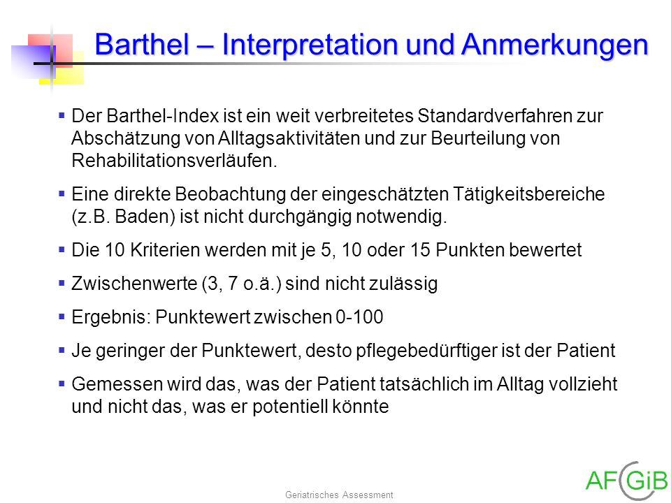 Barthel – Interpretation und Anmerkungen