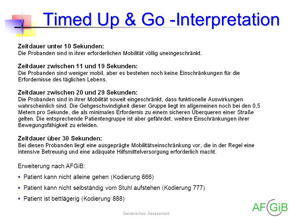 Timed Up & Go -Interpretation