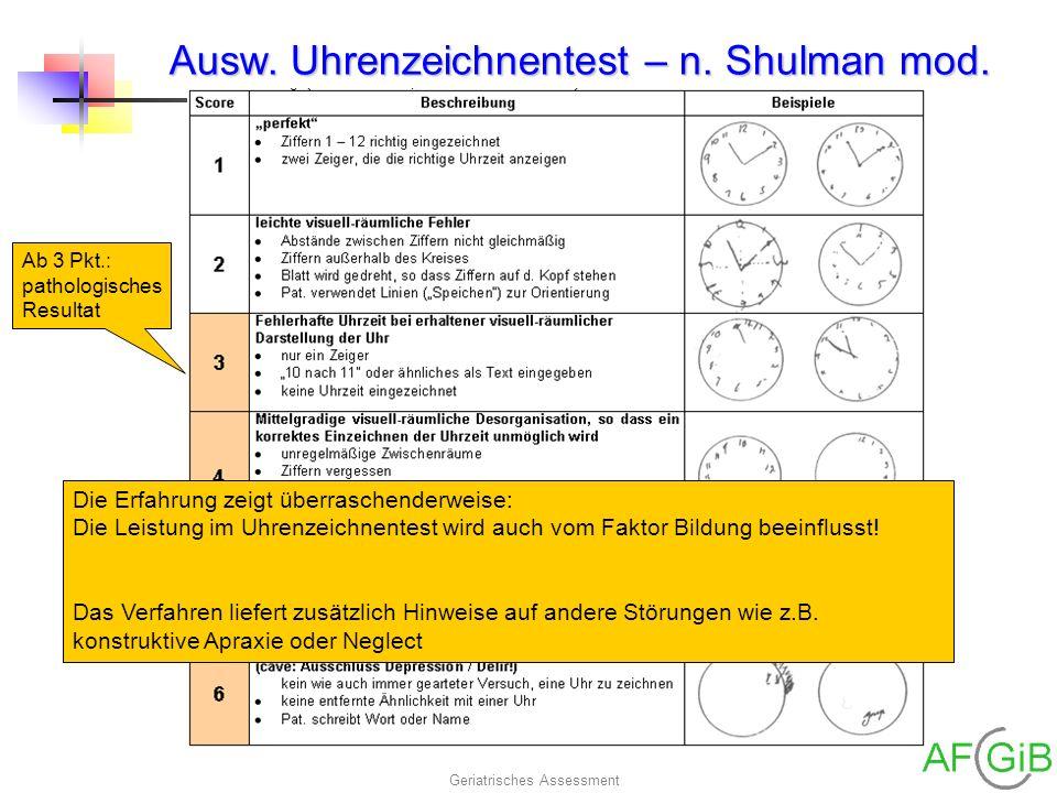 Ausw. Uhrenzeichnentest – n. Shulman mod.