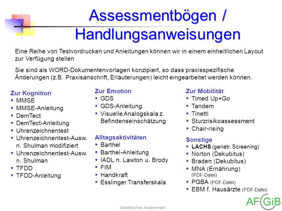Assessmentbögen / Handlungsanweisungen