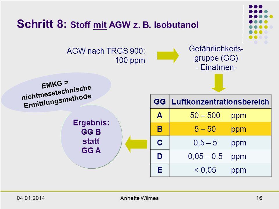 Schritt 8: Stoff mit AGW z. B. Isobutanol