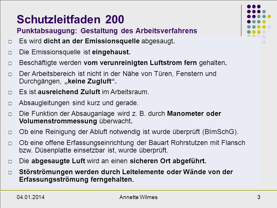 Schutzleitfaden 200 Punktabsaugung: Gestaltung des Arbeitsverfahrens