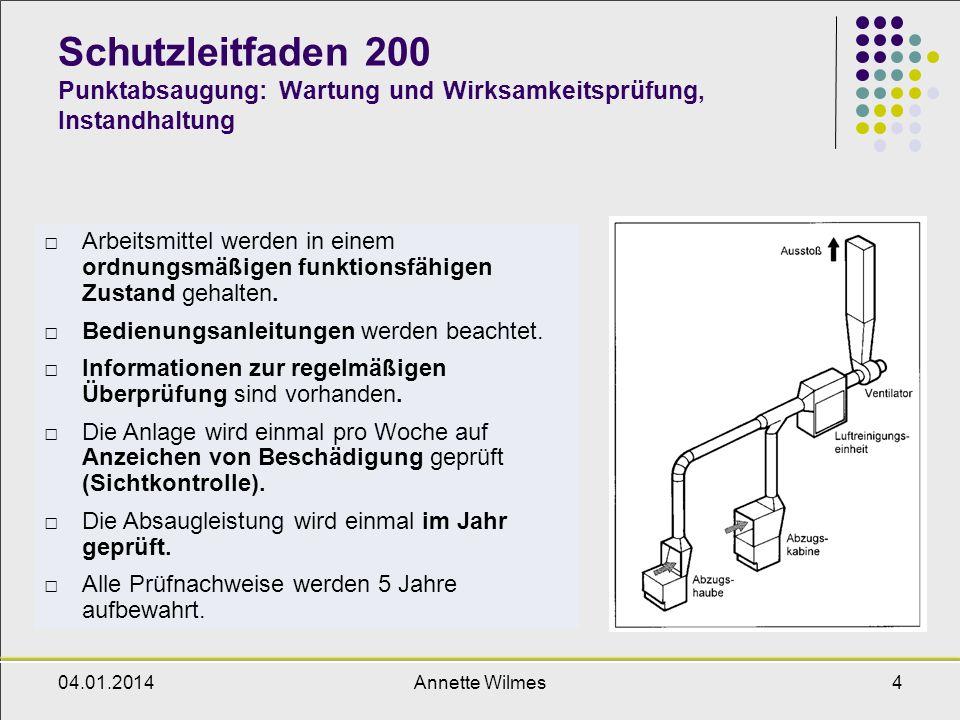 Schutzleitfaden 200 Punktabsaugung: Wartung und Wirksamkeitsprüfung, Instandhaltung