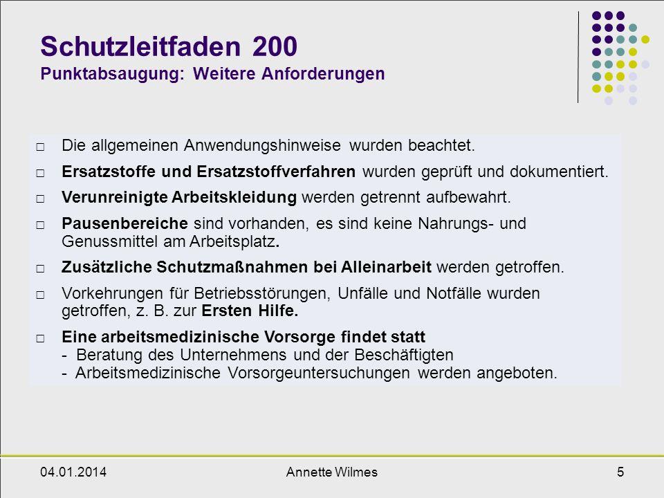 Schutzleitfaden 200 Punktabsaugung: Weitere Anforderungen