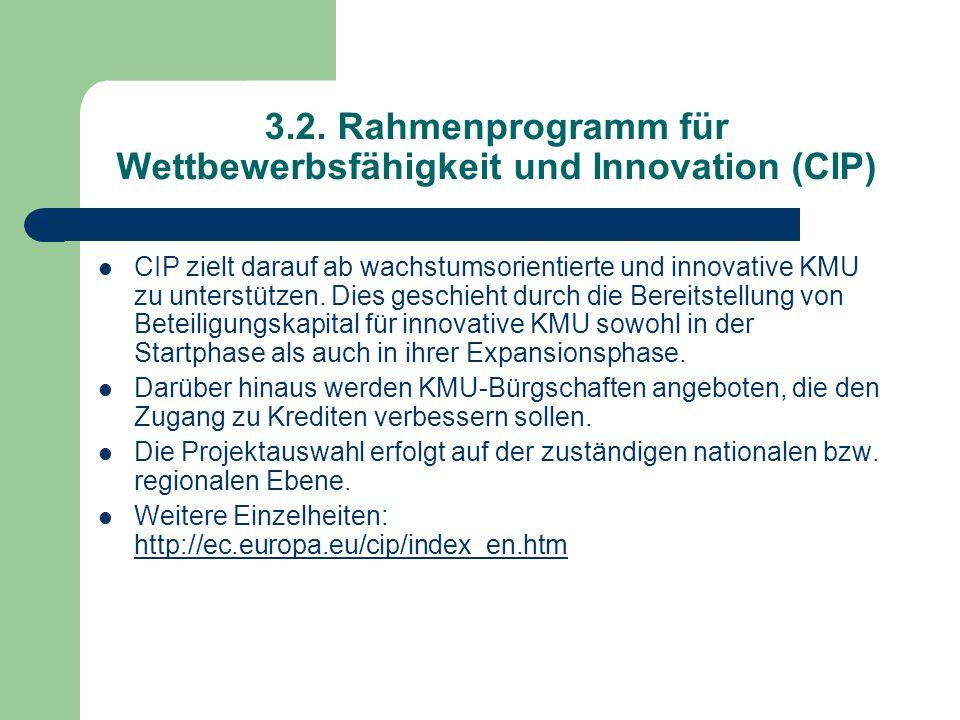 3.2. Rahmenprogramm für Wettbewerbsfähigkeit und Innovation (CIP)