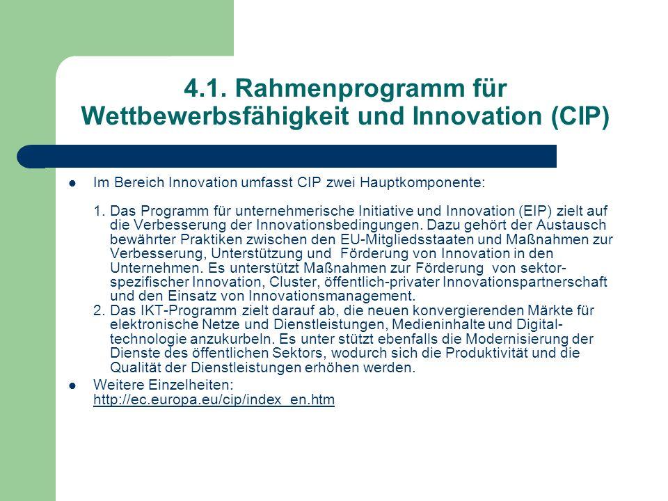 4.1. Rahmenprogramm für Wettbewerbsfähigkeit und Innovation (CIP)