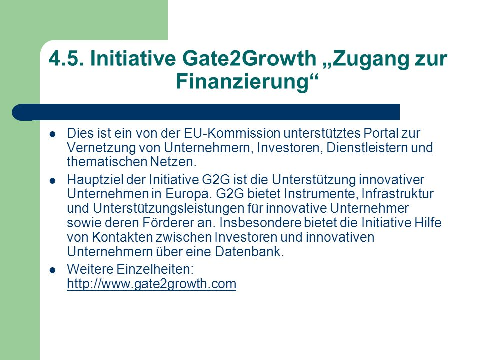 "4.5. Initiative Gate2Growth ""Zugang zur Finanzierung"